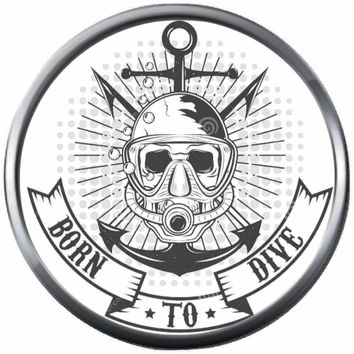 Sketch Art Born To Dive Scuba Diver Underwater 18MM - 20MM Snap Jewelry Charm New Item