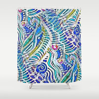 Under the Sea Abstract Nautilus  Shower Curtain by  #RokinRonda