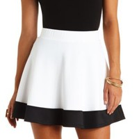 Color Block High-Waisted Skater Skirt - Black/White