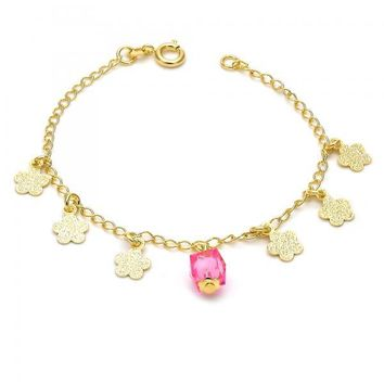 Gold Layered 03.02.0031.06 Fancy Bracelet, Flower Design, with Light Rhodolite Crystal, Matte Finish, Gold Tone