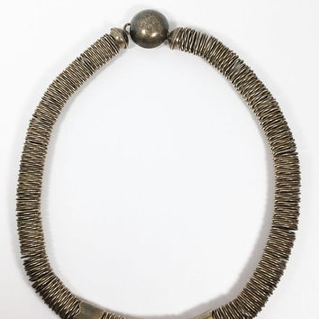 Sterling Silver Modernist Necklace Designer Ruth Von Buren Vintage 1960s 1970s Coil Choker Statement Piece Contemporary Brutalist Boho