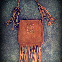 Vintage Light Brown Suede Purse With Long by TrueBlueDryGoods