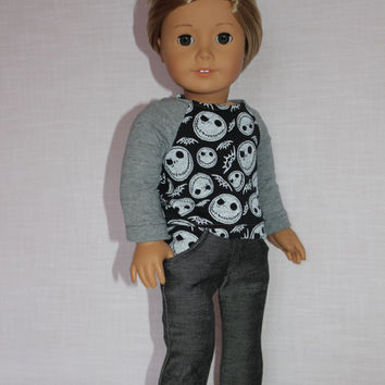 18 inch doll clothes, skeleton print  black and grey  baseball tee, grey stretchy skinny jeans, american girl ,maplelea