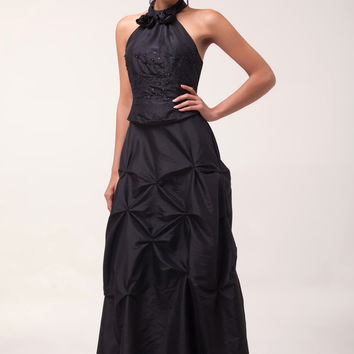 Black Halter Flowers Beads Ruffled Bow Knot Maxi  Evening Dress