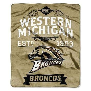 "Western Michigan Broncos NCAA Royal Plush Raschel Blanket (Label Series) (50x60"")"""
