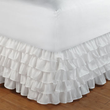White Ruffle Bed Skirt 800TC Egyptian Cotton