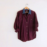 Vintage dark purple cotton shirt. Tomboy button down shirt. denim collar shirt. women's XL