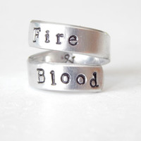 Fire & Blood  -  Aluminum Wrap Ring - Adjustable - GOT Inspired