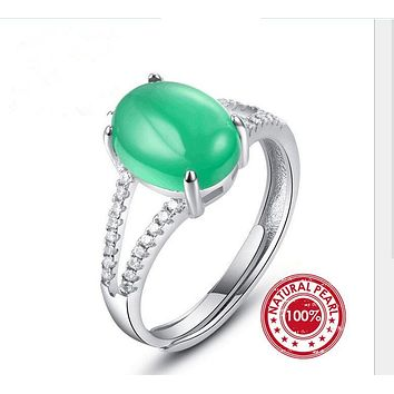 SNH Green Nano Russian Emerald Ring For Women Genuine 925 Sterling Silver Fashion adjustable ring