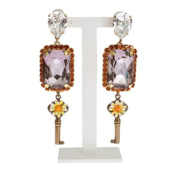 Dolce & Gabbana Gold Purple Crystal Key Earrings