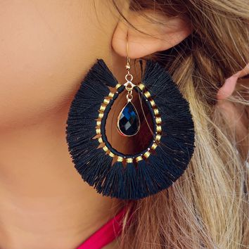 Dress It Up Earrings: Black/Gold