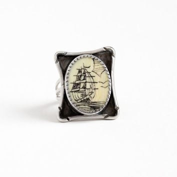 Vintage Sterling Silver Scrimshaw Ship at Sea Ring - Retro 1960s Size 6 1/4 Ocean Nautical Organic Gem Statement Fox Maker's Mark Jewelry
