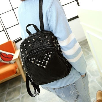 Comfort On Sale Back To School Stylish Hot Deal College Vintage Rivet Casual Bags Backpack [6581262215]