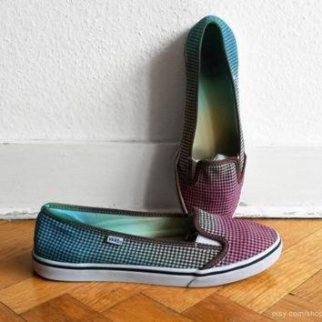 VLXZRBC Vans lightweight slip on sneakers, multi-colour ombre upcycled gingham shoes, size eu