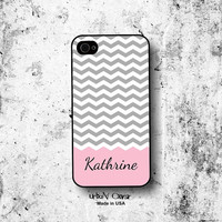 Iphone case - Chevron pink phone cover, Personalized Monogram Iphone 4, 4S, 5, 5s, 5c & Galaxy S3, S4 cases, personalized covers (1030)