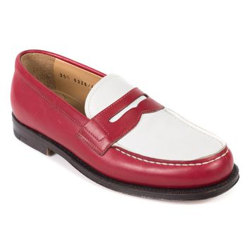 Church's Two-Tone Red Leather Bridget Penny Loafers