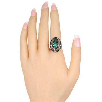 Fashion Jewelry Womens Vintage Old Silver Love Ring Best Gift Ring -0