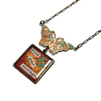 Find Your Courage Collage Quote necklace