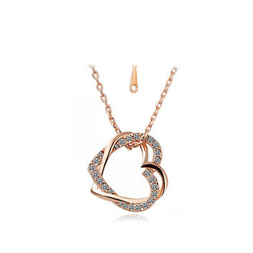 18K Gold Double Diamond Heart Pendant Necklace