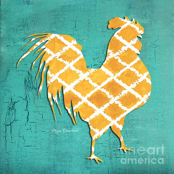 Elegant Decorative Kitchen Art Ikat Rooster Pattern Painting by Megan Duncanson - Elegant Decorative Kitchen Art Ikat Rooster Pattern Fine Art Prints and Posters for Sale
