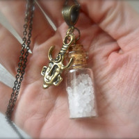 Supernatural Salt Protection vial Ward Colt Charm Gun Necklace Dean Sam Winchester Ghost Witch Spirit Demon Castiel Angel