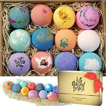 LifeAround2Angels Bath Bombs Gift Set 12 USA made Fizzies, Shea & Coco Butter Dry Skin Moisturize, Perfect for Bubble & Spa Bath. Handmade Birthday Gift idea For Her, wife, girlfriend, women