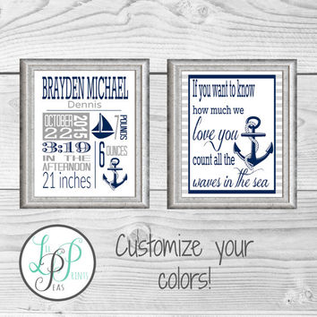 Nautical Birth Stats Print, Nautical Theme Nursery, Baby Boy Nautical Gift, Navy and Grey Nursery, Nautical Nursery Wall Art,Baby Keepsake