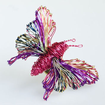 Butterfly brooch Butterfly jewelry Insect jewelry Unusual brooches Wire sculpture art jewelry brooch butterfly Fuchsia jewelry Brooch pin.