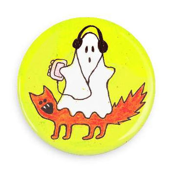 "Ghost & Cat 1"" Pinback Button"