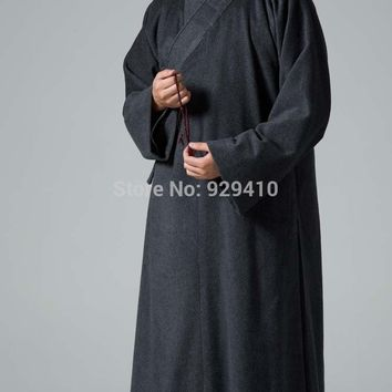 Zen monks suits winter wool coat buddhist shaolin monk robekung fu martial arts gownsuits uniforms dark gray clothing  YX1-44