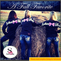 Special Edition Southern Made Long Sleeve Tee Shirt ~ Glitter Bow
