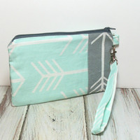 Mint Wristlet - Mint Arrows - Arrow Clutch Wristlet - Clutch Wristlet - Carry Clutch - Phone Clutch Wallet - Bag with Arrows - Mint and Gray