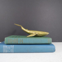 Vintage Brass Whale Figurine // Mid Century Modern Paperweight Gold Metal Desk Decoration Nautical Home Decor Coastal Beach House Ocean