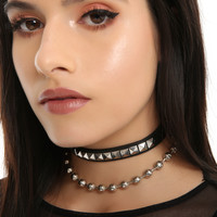 Blackheart Pleather Shot Bead Choker Set