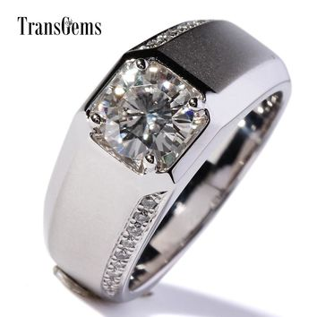 TransGems 1 Carat Lab Grown Moissanite Diamond Band moissanite A 6dd1d239b4