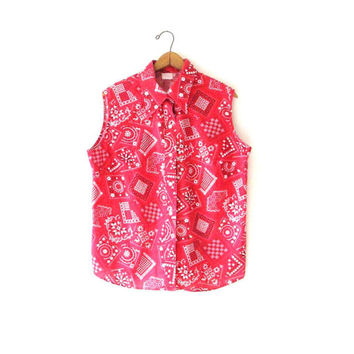 Wms Vintage Red Bandana Rockabilly Campy Handkerchief Sleeveless Button Down Blouse Sz L