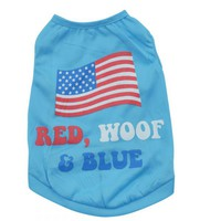 Red Woof and Blue USA Flag Patriotic 4th of July Dog Shirt Coat Vest Clothing