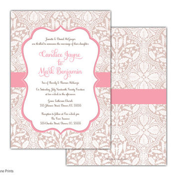 Printable wedding invites rustic, Romantic wedding invite set, pink lace wedding invitation, DIY or printed, custom colors - WLP00554