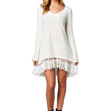 2LUV Women's Oversized Long Sleeve Lace Trimmed Tunic Dress (Regular & Plus Sizes)