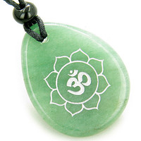 Magic OM and Lotus Sun Circle Amulet Green Quartz Lucky Pendant Necklace