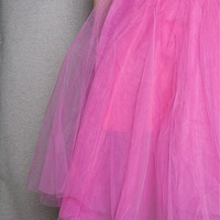 KToo USA Layered Tulle Midi Skirt - Fuchsia