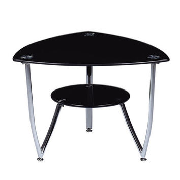 Global Furniture USA T601 Triangular Black Glass End Table w/ Chrome Legs