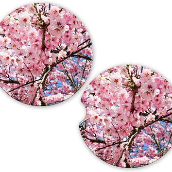 Japanese Cherry Blossoms Car Cup Coaster, Personalized Monogrammed Cup Holder, Custom Auto Gift, Sandstone Coaster, gift for her