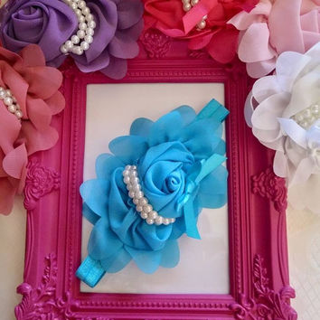Fancy Pearl Rose Headbands