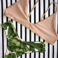 Leaves Print Bikini Set Swimsuit For Women