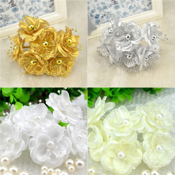 60pcs/lot  Silk artificial Scrapbooking Bouquet Flower Heads Diameter 5cm For Home Garden Wedding Car Corsage Decoration Crafts
