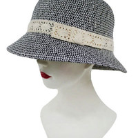 LACE BOW BUCKET STYLE SOFT SUN HAT
