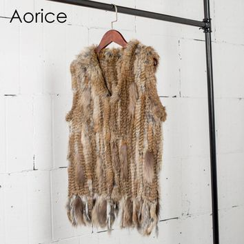 VR031 Knitted real rabbit fur vest /jacket/coat  Winter warm women genuine fur outwear