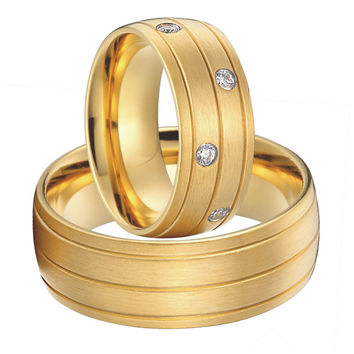 Luxury Custom Bridal Pair titanium steel jewelry big wedding rings set for men and women 2015 new gold plated alliances anel