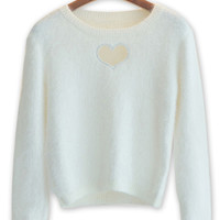 White Heart Cut Out Fluffy Knit Jumper